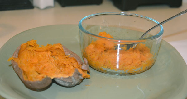 how to make sweet potato puree microwave