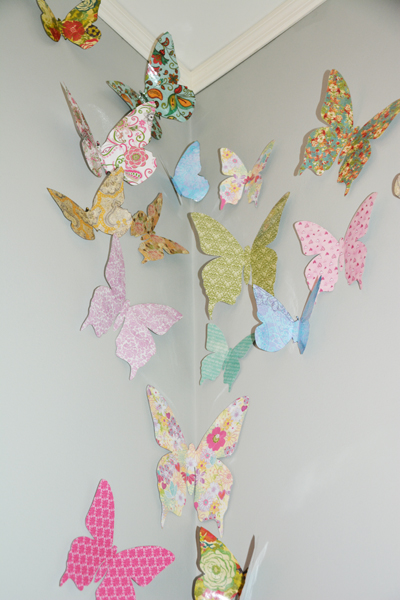 How to make decorative butterflies for a girl s bedroom for How to make paper butterflies for wall